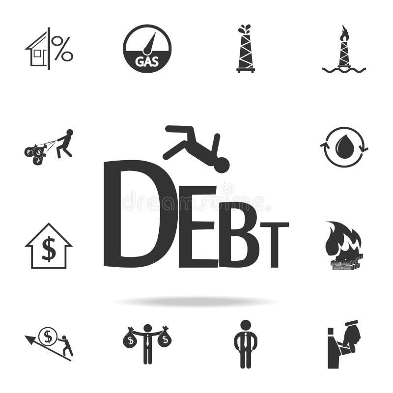 Faillite commerciale d'icône de dette lourde Ensemble détaillé d'icônes d'élément de finances, d'opérations bancaires et de bénéf illustration libre de droits