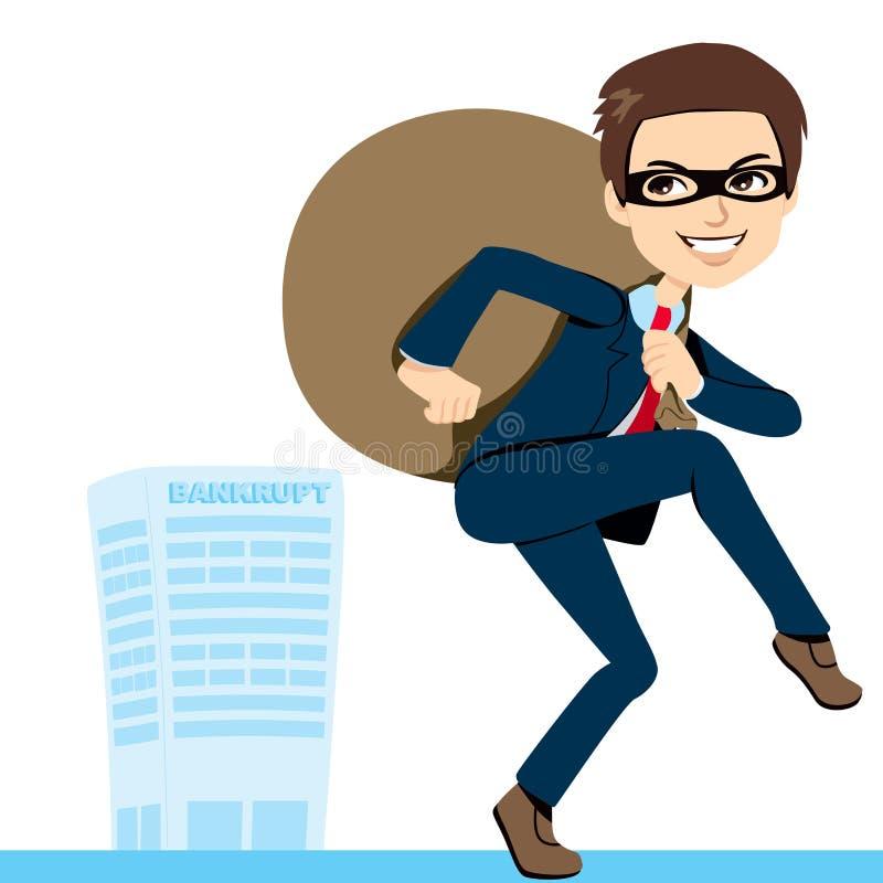 Faillite d'homme d'affaires de voleur illustration de vecteur