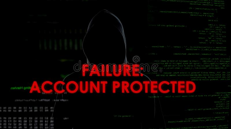 Failure, account protected, unsuccessful hacking attempt to steal personal data. Stock photo stock photos