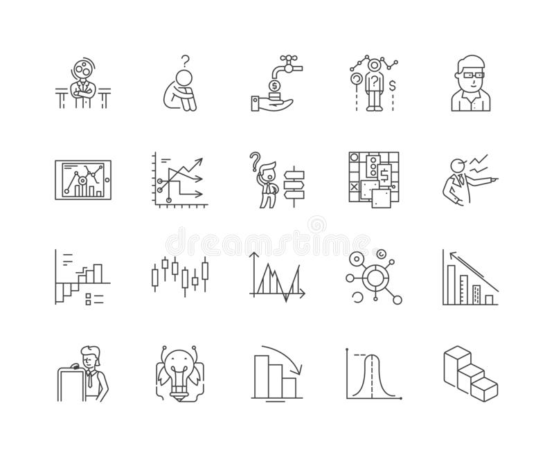 Failure analysis line icons, signs, vector set, outline illustration concept stock illustration