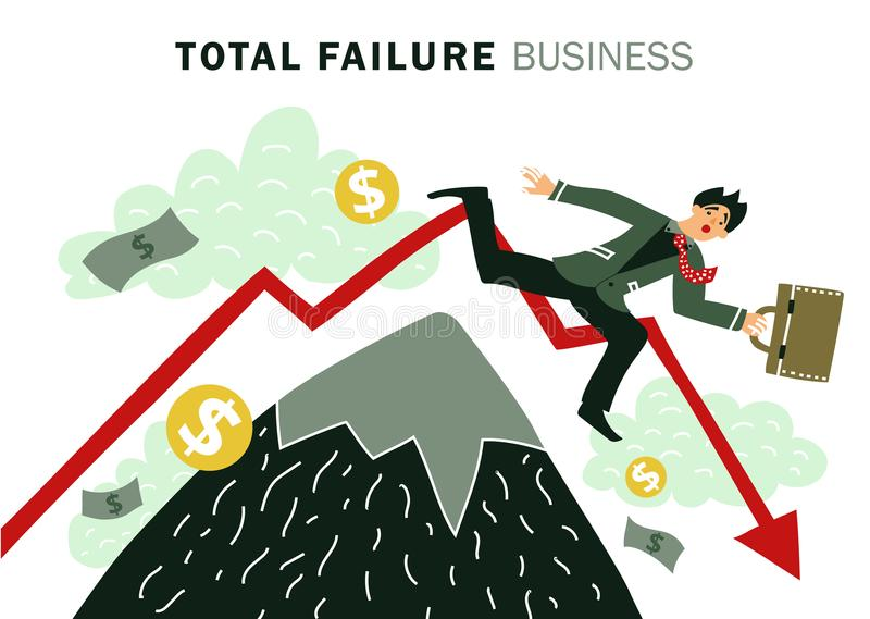 Failure Business Composition. Colored flat failure business composition with total failure business description and businessman falls vector illustration vector illustration