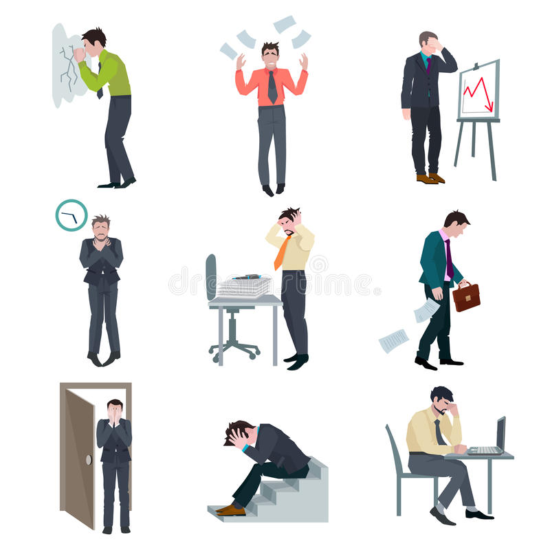 Failure Business Set. With frustrated businessman failure project disaster bad results isolated vector illustration stock illustration