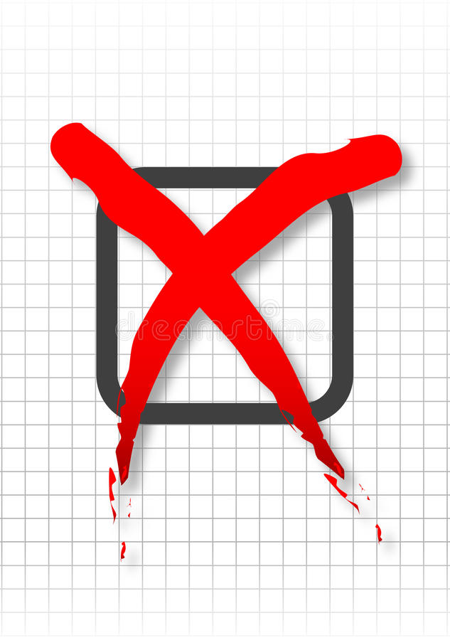 Failure checkbox. Red bold cross over checked paper background royalty free illustration