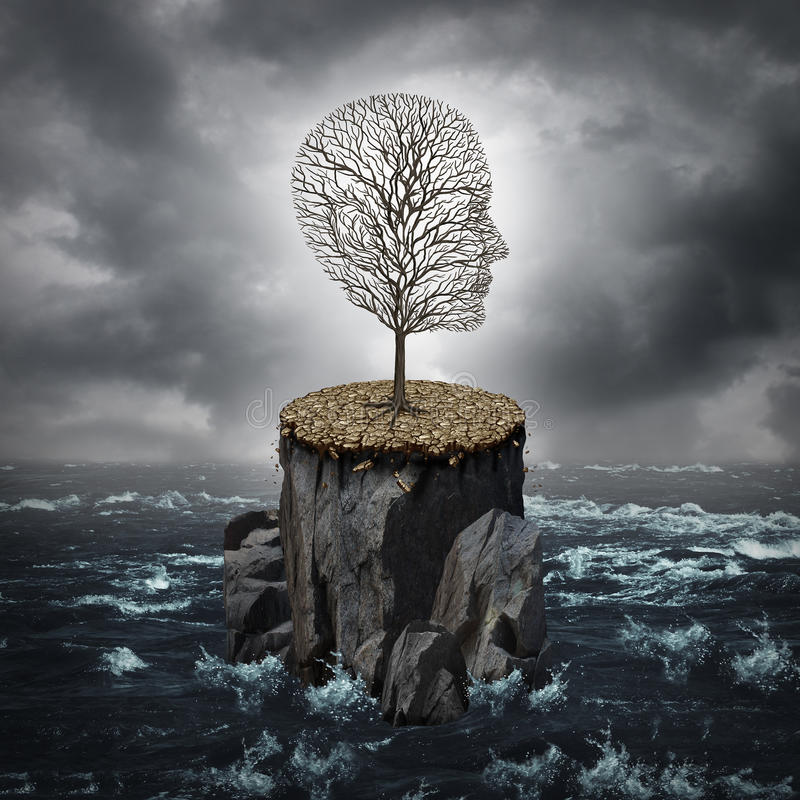 Failure Crisis. Concept and lost business career or education opportunity metaphor as a dying tree shaped as a human head alone on a rock cliff with dry ground royalty free illustration