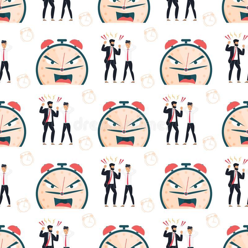 Failure Deadline Cartoon Flat Seamless Pattern. Failure Deadline Seamless Pattern. Angry Boss Yelling at Sad Depressed Male Employee. Furious Alarm Clock stock illustration