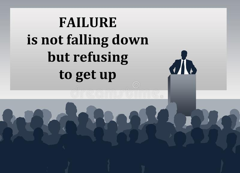 Failure not giving up. Failure defined as refusing to get up, not as falling down vector illustration