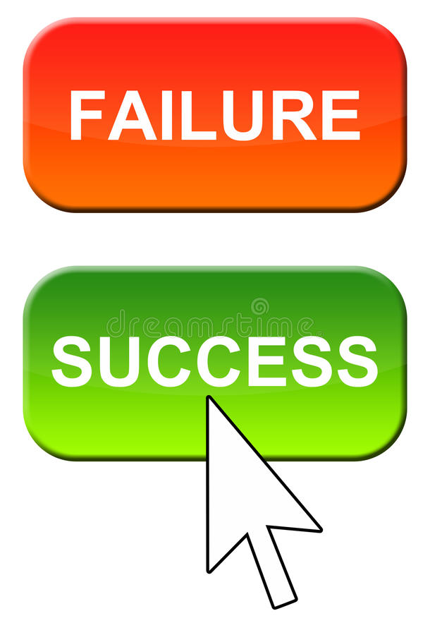 Failure and success. Choosing for success instead of failure stock illustration