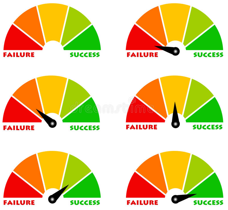 Failure and success. Diagram ranging from failure to success royalty free illustration