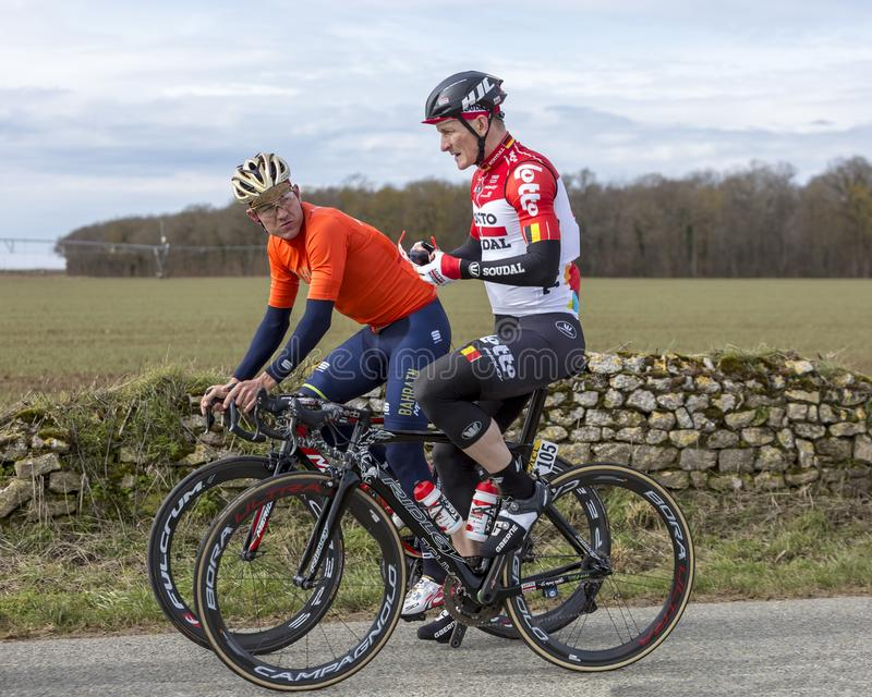 Two Cyclists - Paris-Nice 2018 royalty free stock images