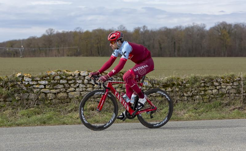 The Cyclist Marco Haller - Paris-Nice 2018 stock photo