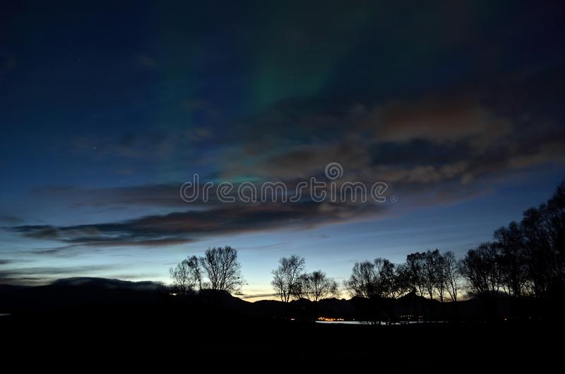Faint aurora borealis dancing over fjord and trees stock photo