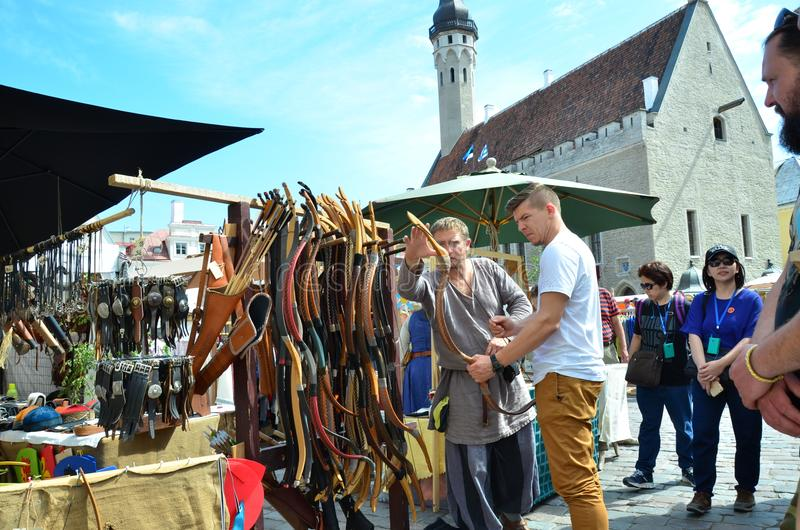 Fair in the capital of Estonia Tallinn at the Town Hall Square i royalty free stock image