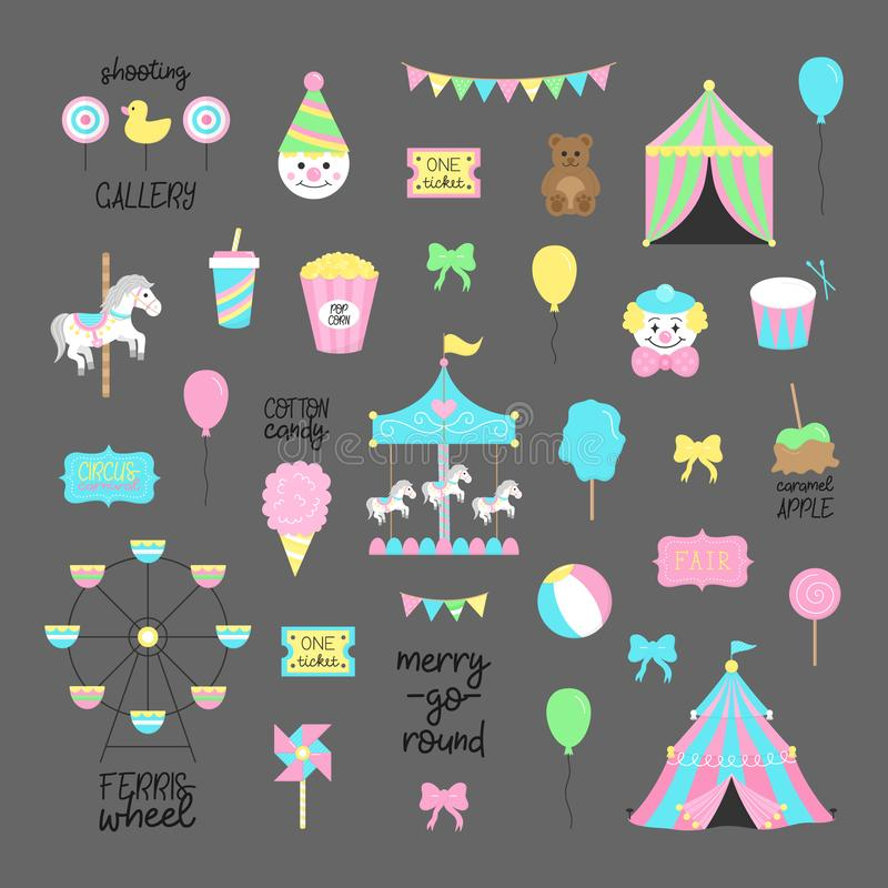 Fair, carnival, circus vector illustrations collection. Amusement park graphic hand drawn icons of carousel, wheel, circus tent, funfair food. Isolated on grey stock illustration