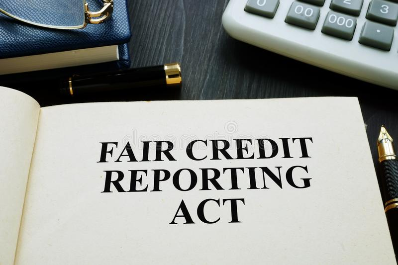Fair credit reporting act FCRA on a desk. Fair credit reporting act FCRA on the desk royalty free stock photo