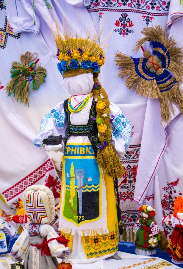 Fair of folk art dolls motanka village Petrikovka Dnipropetrovsk region Ukraine 09/15/2018 royalty free stock photography