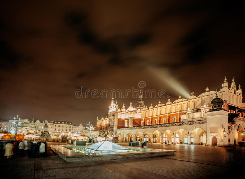 Fair in KRAKOW. Main Market Square and Sukiennice in the evening. royalty free stock photography