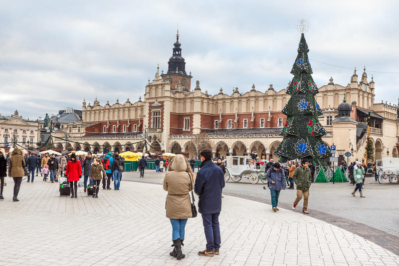Fair in KRAKOW. Main Market Square and Sukiennice in the evening. royalty free stock images