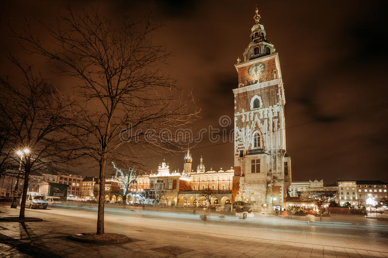 Fair in KRAKOW. Main Market Square and Sukiennice in the evening. stock image