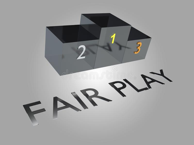 FAIR PLAY concept. 3D illustration of podium, isolated on pale gray gradient, along with FAIR PLAY title, action, activity, athlete, athletic, ball, basketball vector illustration