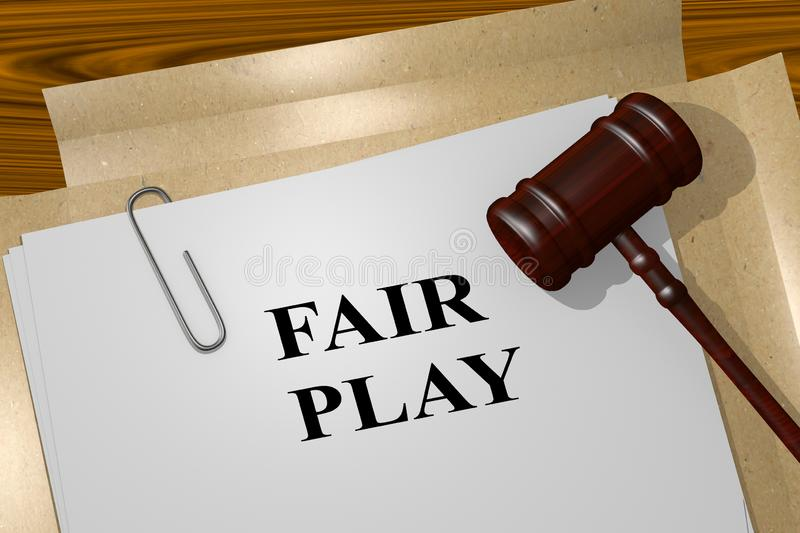 FAIR PLAY concept. 3D illustration of FAIR PLAY title on legal document, action, activity, athlete, athletic, ball, basketball, competition, competitive, court vector illustration