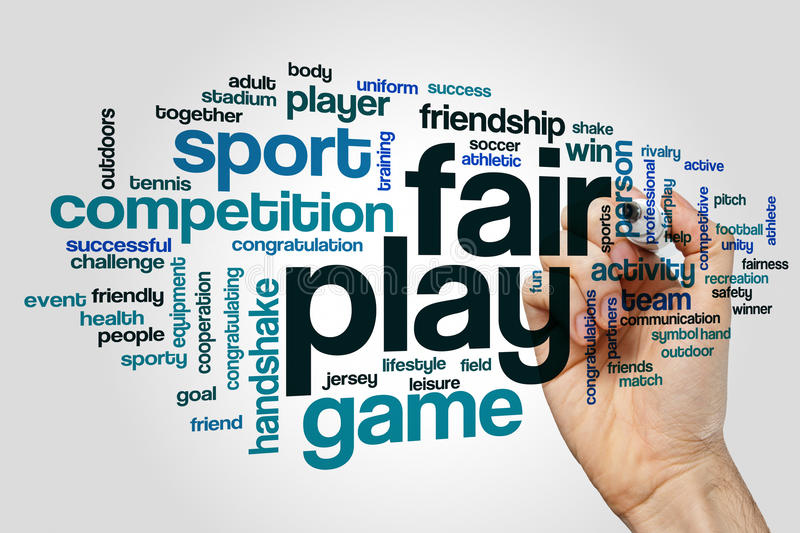 Fair play word cloud concept on grey background stock photo