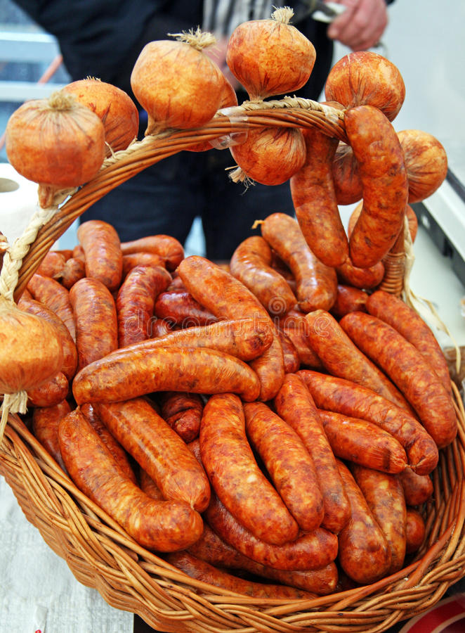 Fair 'Products of Croatian Village',sausages,2,Zagreb,2016. royalty free stock images