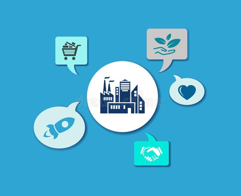 Fair & progressive company icon concept: start-up / hidden champion / sustainable company - vector illustration stock illustration