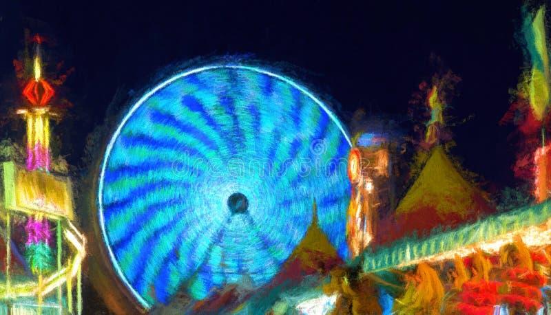 Fair Rides at Night vector illustration