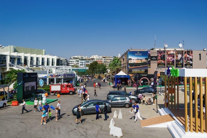 Thessaloniki, Greece nside 84rth International fair pavilions with crowd stock photo