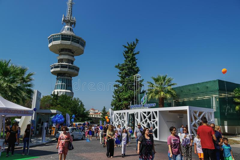 Thessaloniki, Greece nside 84rth International fair pavilions with crowd royalty free stock photography