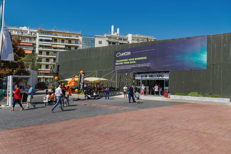 Thessaloniki, Greece nside 84rth International fair pavilions with crowd royalty free stock image