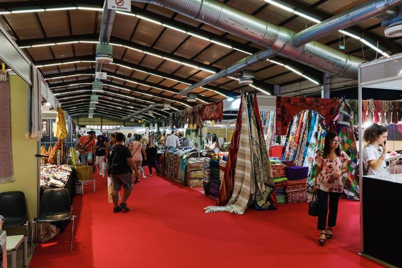 Thessaloniki, Greece nside 84rth International fair pavilions with crowd stock photos