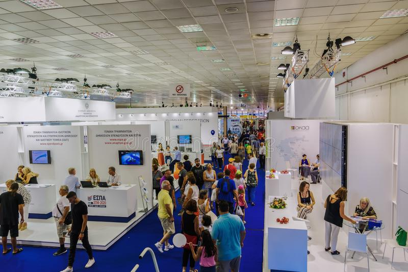 Thessaloniki, Greece nside 84rth International fair pavilions with crowd stock photography
