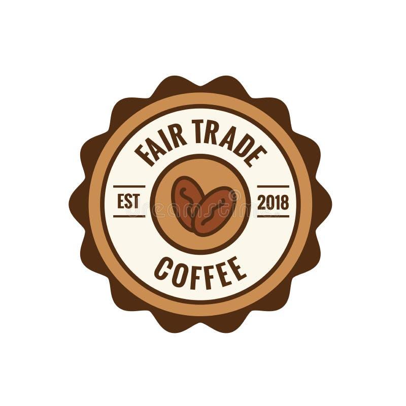 Fair Trade Coffee Emblem with Coffee Beans Seal - Brown and red. Fair Trade Coffee Emblem with Coffee Beans Seal w Brown and red vector illustration