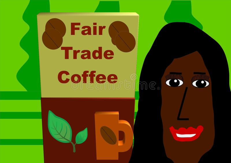 Fair Trade Coffee. The image shows a coffee plantation. In front of it are a 3D package of fair trade coffee with a smiling, colored Brazil woman vector illustration