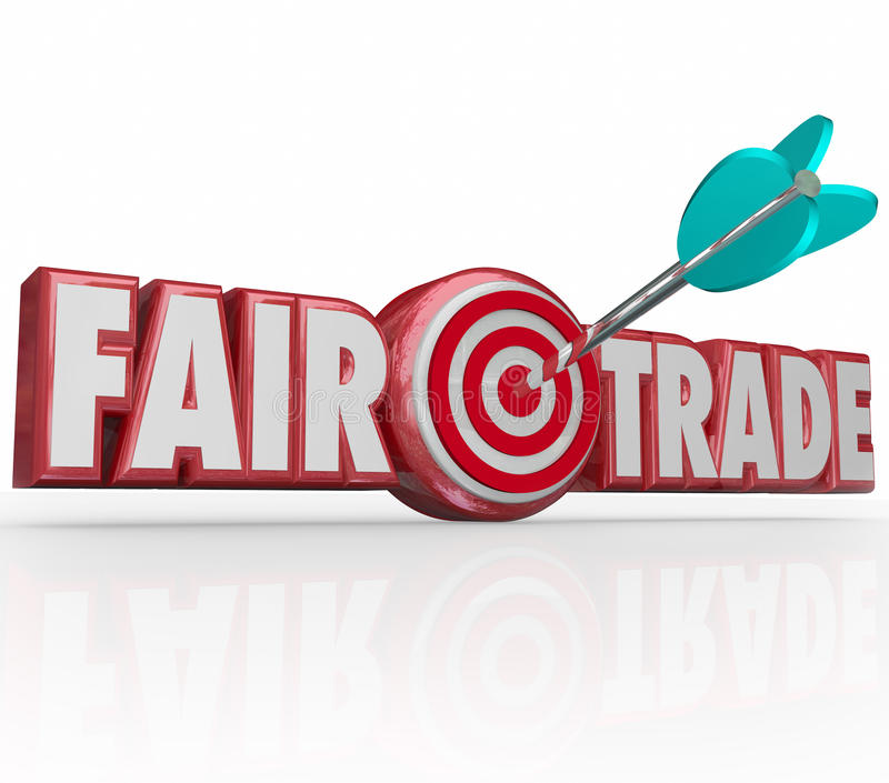 Fair Trade Words 3d Letters Arrow Target Bulls Eye. Fair Trade words in red 3d letters and an arrow in the bulls-eye to illustrate supply chain planning that is stock illustration
