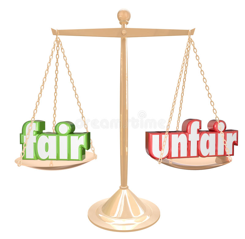 Fair Vs Unfair Words Scale Balance Justice Injustice. Fair Vs Unfair words on a gold scale or balance to illustrate and compare justice and injustice in legal or stock illustration