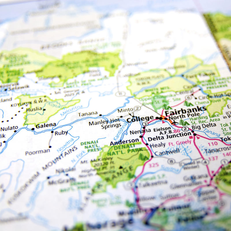 Fairbanks Alaska. A map with the focus on Fairbanks, Alaska royalty free stock image