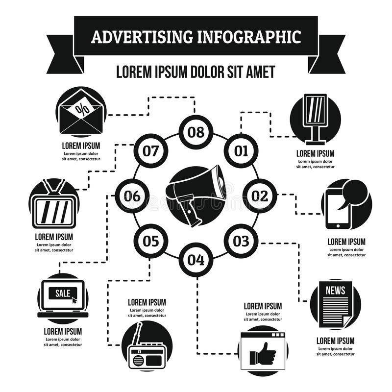 Faire de la publicité le concept infographic, style simple illustration libre de droits