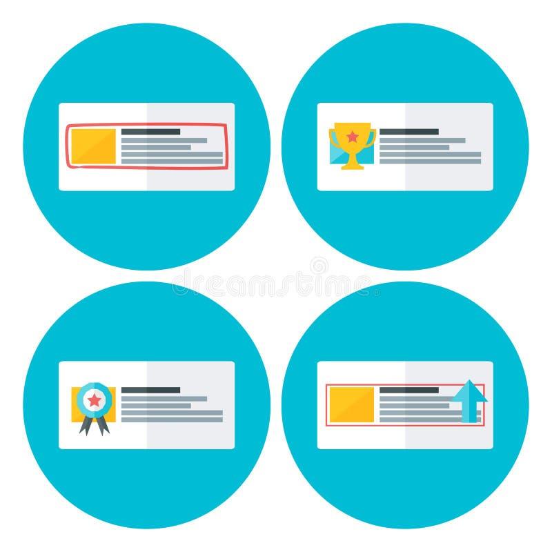 Faire de la publicité les icônes plates de cercle illustration de vecteur
