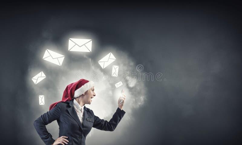 Faire des appels de Noël photographie stock libre de droits