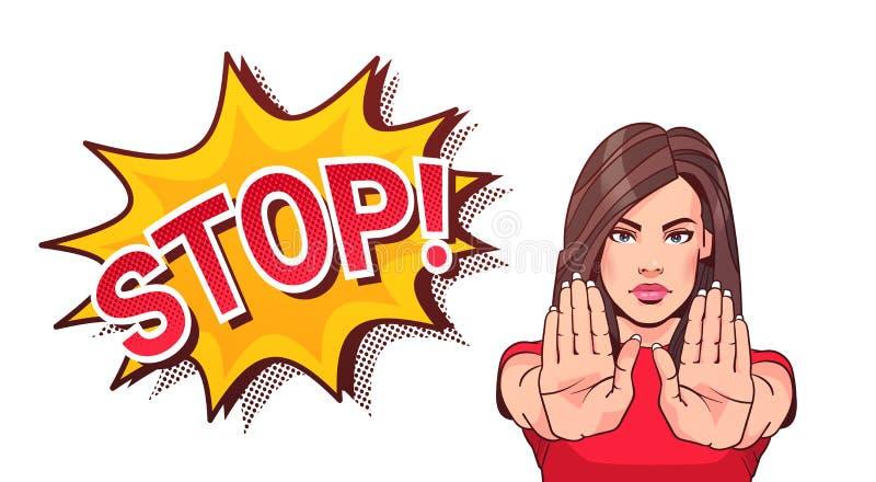 Faire des gestes de femme aucun ou paumes augmentées par apparence de signe d'arrêt illustration stock