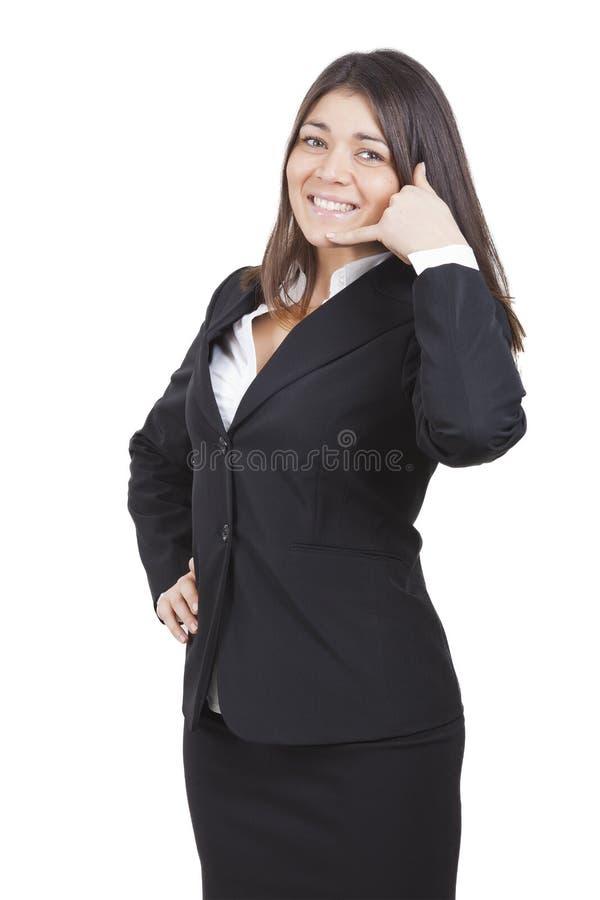 Faire des gestes de femme d'affaires image stock