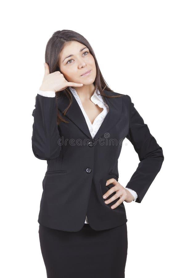 Faire des gestes de femme d'affaires images libres de droits
