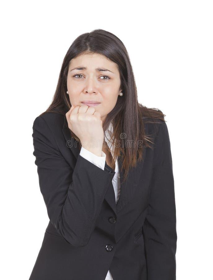 Faire des gestes inquiété de femme d'affaires photos stock