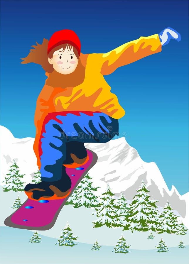 Faire du surf des neiges illustration de vecteur