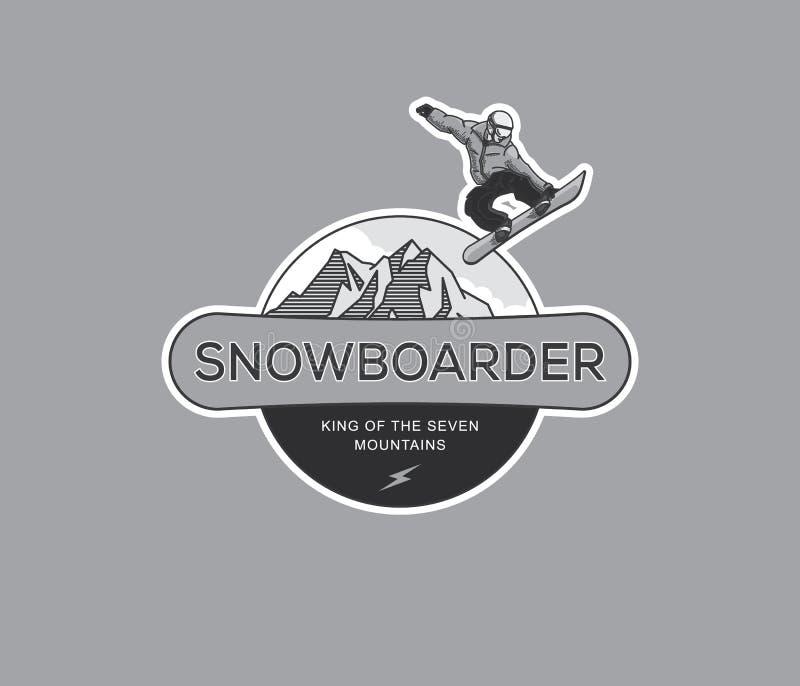 Faire du surf des neiges BW extrême illustration de vecteur