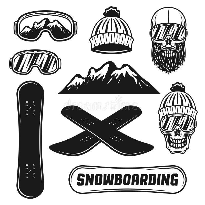 Faire du surf des neiges l'ensemble d'équipement d'objets de vecteur illustration libre de droits