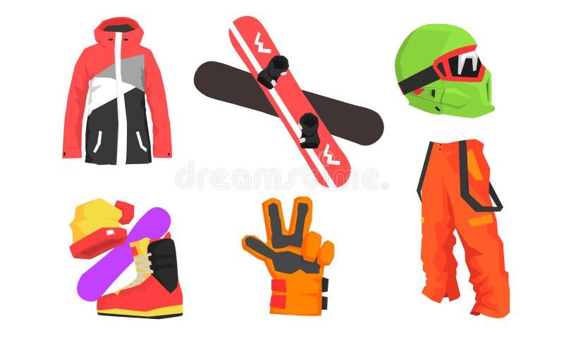 Faire du surf des neiges l'ensemble d'équipement, sport d'hiver, illustration active de vecteur de mode de vie illustration de vecteur