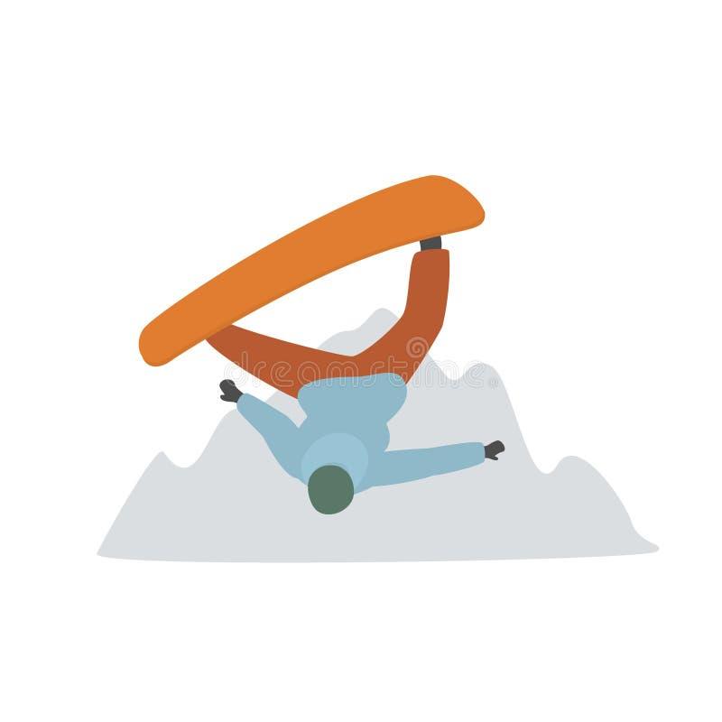 Faire du surf des neiges la haute de vol de personne dans la station de vacances de montagnes d'hiver illustration libre de droits